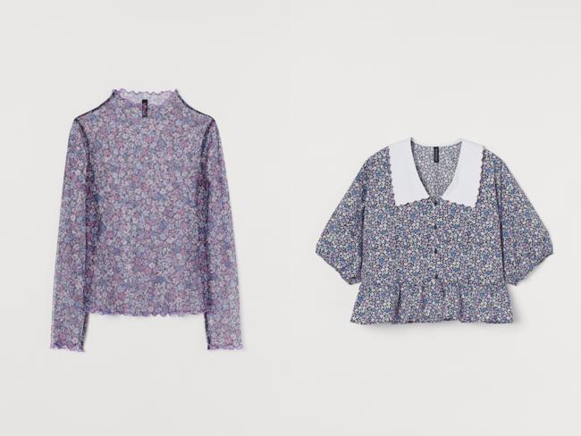 (左から) メッシュトップス¥1,799 半袖ブラウス¥2,999