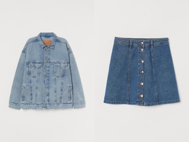 (左から) オーバーサイズジャケット¥3,999 Aラインスカート¥2,499