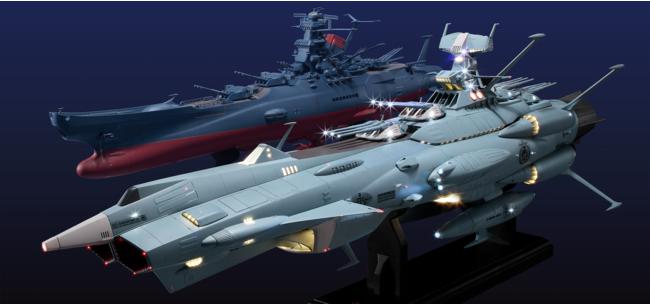 (手前)前衛武装宇宙艦 AAA-1 アンドロメダ 1/350スケールモデル 完成モデル (奥)宇宙戦艦ヤマト2202ダイキャストギミックモデルをつくる 完成モデル