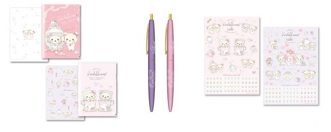 クリアファイルセット、BICボールペン( ピンク、紫 ) 全2種、ステッカー (ピンク、紫 )全2種
