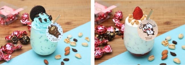 くまのあま~い♡チョコミントミルク、にゃんこのあま~い♡ショートケーキラテ
