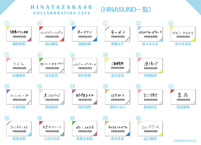 HINASUND 22種類の詳細一覧