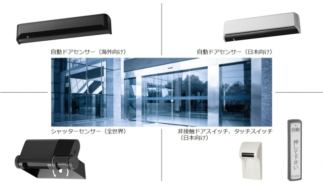 経済産業省認定「新GNT企業100選」に選定された自動ドアセンサー製品群