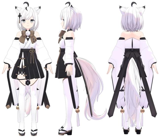 ※「狐九里るる」 3面図 (3Dモデル)