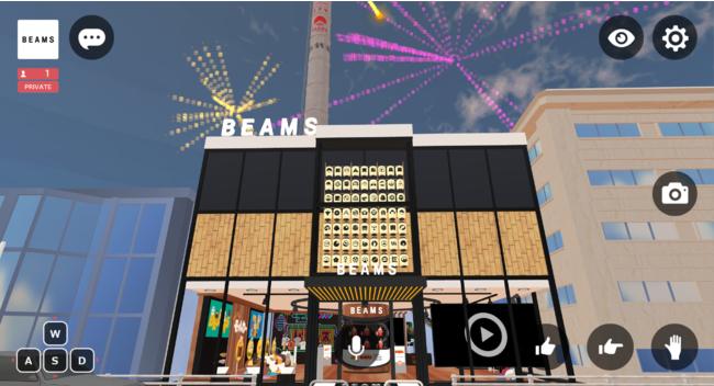 HIKKY社が独自開発したWeb to VR(Vket Cloud)を実装し、スマホやパソコンのブラウザから誰もがBEAMSバーチャルショップを体験できる。写真はWeb to VR版の操作画面。