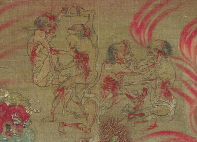 等活地獄部分(国宝六道絵・聖衆来迎寺蔵)