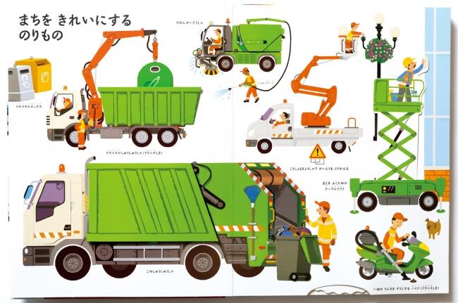 街の整備:ごみの回収、  ビルの窓拭き、  犬のうんちを掃除する乗物まで、  街は面白い乗物でいっぱい!