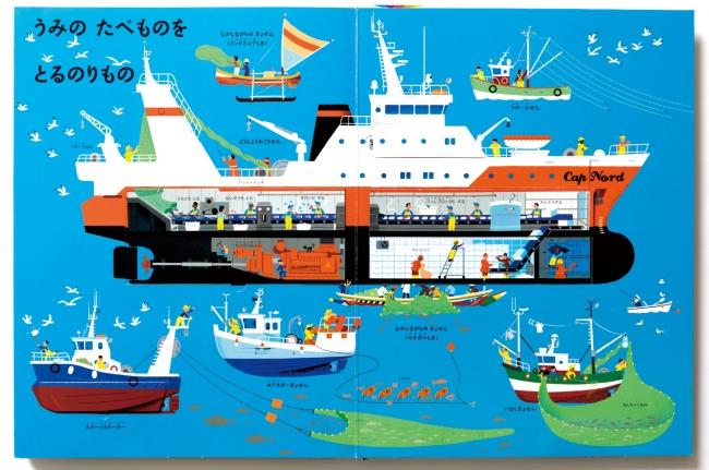 漁業:船のなかに魚をさばく工場を発見。