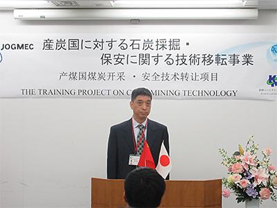 中国研修生代表(韓双●(=王へんに其)氏)の挨拶