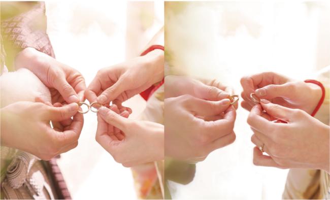 一つのリングを二人の手で分かち合う