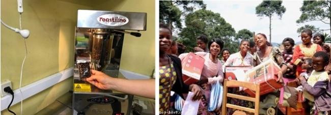 写真左:応援のもと購入した焙煎機 写真右:ミシンを手に喜ぶコンゴのお母さんたち