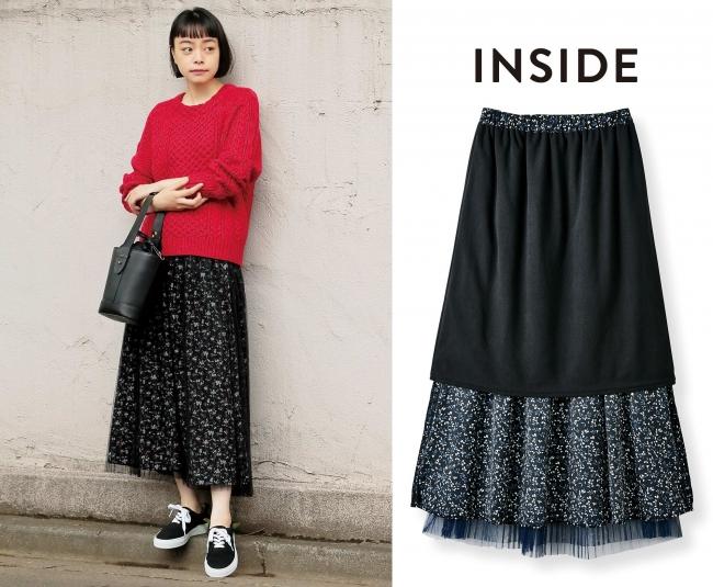 裏側には、ひざまですっぽり暖かなフリースのインナースカート付き。