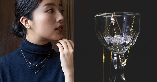 画像左:トリロジーダイヤモンドのネックレス、画像右:一等星シリウスのダイヤモンドネックレス