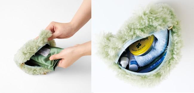 バッグを使わない時はポーチに収納して携帯できます。ポーチの内側はカードポケット付きでコスメやハンカチなどの小物入れとしても使えます。