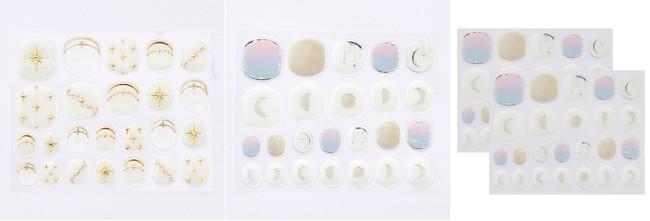 左:〈星〉乳白色やクリアベースにゴールド箔できらめく星を表現。中(右):〈月〉月の満ち欠けとやわらかな空の色を繊細なシルバー箔でイメージ。ネイルシールは同柄2枚セット、両手約2回分です。