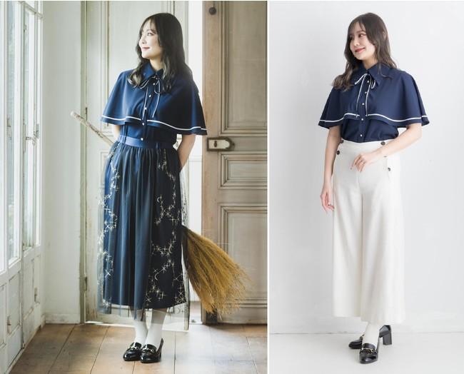 左:別売「魔法部 魔法使いは夜空を駆ける 金刺しゅうのチュールスカート〈ネイビー〉」を着用しています。