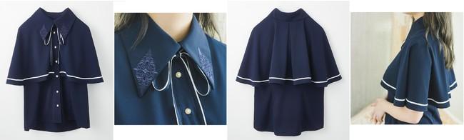 ふわりと美しいドレープ感、衿の刺しゅうは同系色でひそやかに、花形のボタンとリボンが胸元を清楚に飾ります。