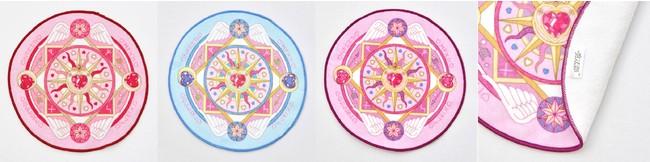 左:〈ピンク〉、中:〈ブルー〉右:〈パープル〉 裏面には魔法部のタグ付きです。