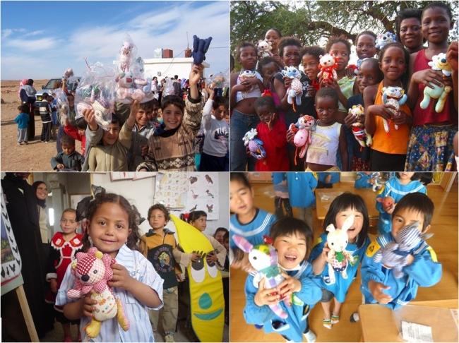 世界の子どもたちへの寄贈の様子