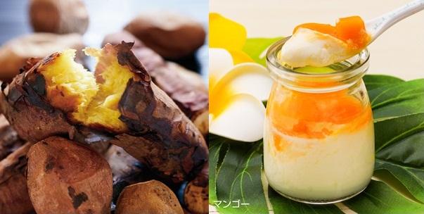 写真右:シェフの魔法のアイスプリン 「南国フルーツプリン(パッションフルーツ・マンゴー)」セット:3名さま