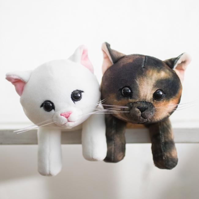画像左:〈白猫〉、右:〈サビ猫〉