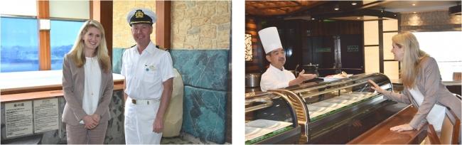 日本式大浴場「泉の湯」や寿司レストラン「海寿司」を視察するジャン・スワーツ