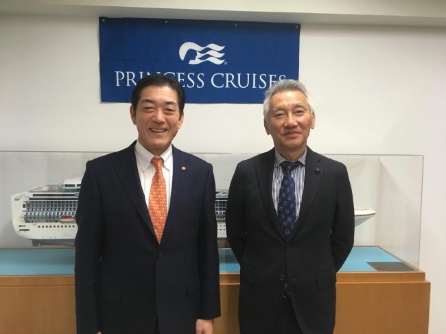 左より:愛媛県知事 中村 時広氏、カーニバル・ジャパン代表取締役社長 堀川 悟
