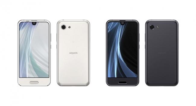 スマートフォン2017年冬モデル「AQUOS R compact」(左から、  ムーンホワイト、  トルマリンブラック)