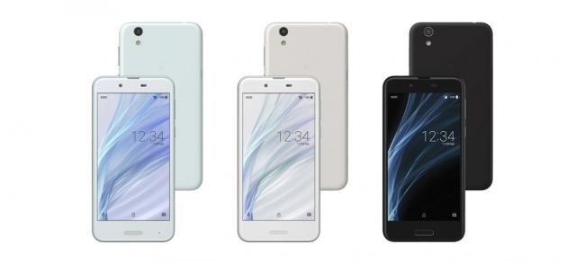 UQ mobile向け <AQUOS sense> (左から、   Champagne Gold、   Silky White、   Velvet Black、   Frost Lavender)