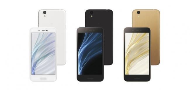 d23fe4e8cc SIMフリースマートフォン <AQUOS sense lite SH-M05>(左から、White、Black、Gold)