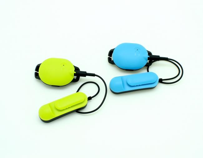 Marlin(イエローグリーン)およびMarlin-P(ブルー)のセンサーおよび骨伝導スピーカーモジュール
