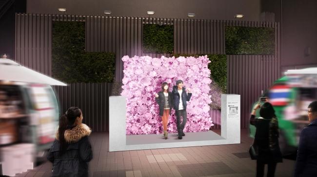 新宿ミロードモザイク通り広場「フラワーウォール」(イメージ)