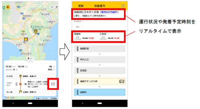 東海バスのリアルタイム運行情報 画面(イメージ)
