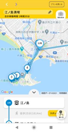 周遊プランニング画面(イメージ)
