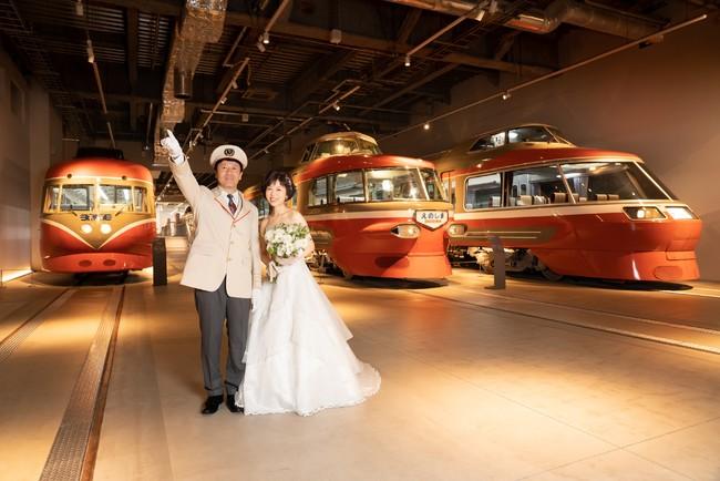 歴代ロマンスカーが並ぶ「ロマンスカーギャラリー」