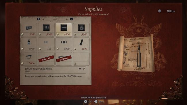 弾薬のレシピを購入すれば素材を集めてイーサン自身で様々な弾薬をクラフトできるようになる。 自分で弾薬を調達できるようになると、強力な銃の使い勝手が大きく向上する。