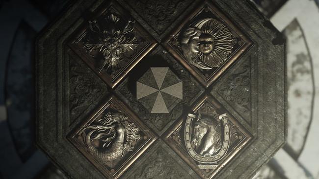 アンブレラ社のマークに酷似した紋様を中心に、4つの紋章が象られている。村のそこかしこで出遭う事になる紋章。どのような意味が秘められているのだろうか?