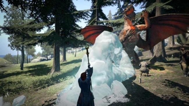 術者の足元から巨大な氷の槍を出現させて攻撃する氷属性魔法。かなりの射程を持ち、上空の敵にも攻撃を当てることができる。