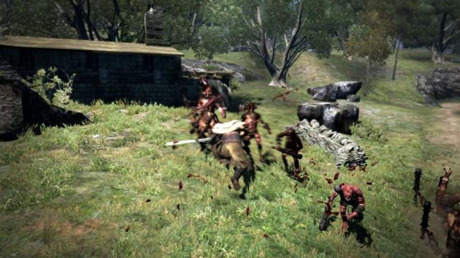 武器を横に構えて前方に突進し、最後に勝ちあげる両手剣スキル。突進時は敵を押し込む形で攻撃が多段ヒットするため、群れている敵を巻き込むように当てると優位に戦闘を進めることができる。