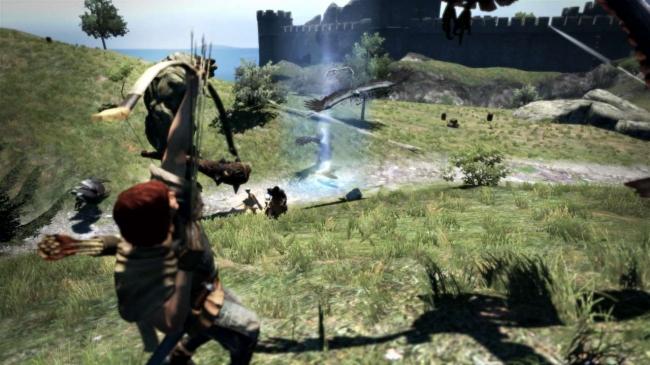 多数の矢を雨のように降らせる弓スキルで、離れた位置の敵を広範囲に攻撃できる。 直線的な攻撃ではないため、岩や壁などの障害物に影響を受けないのもポイント。