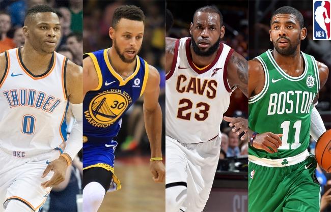 (写真左より)ラッセル・ウェストブルック、  ステフィン・カリー、  レブロン・ジェームズ、  カイリー・アービング (c)2017 NBA EntertainmentGetty Images.All Rights Reserved.