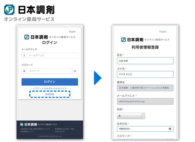 選択した薬局に「日本調剤 オンライン薬局サービス」IDが存在しない場合は会員登録画面に遷移します。