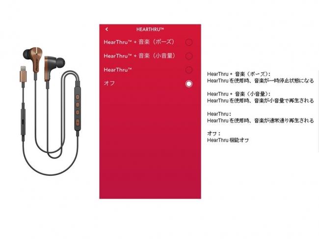 """【画像左から""""RAYZ Plus""""「SE-LTC5R-T」、  HearThruモード画面】"""