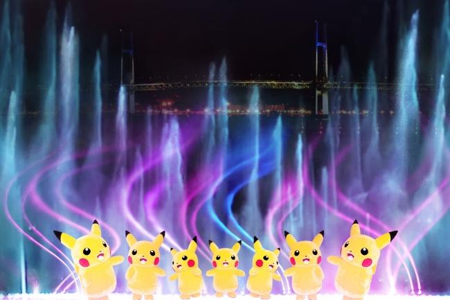 巨大な噴水を活用したパフォーマンス(イメージ)
