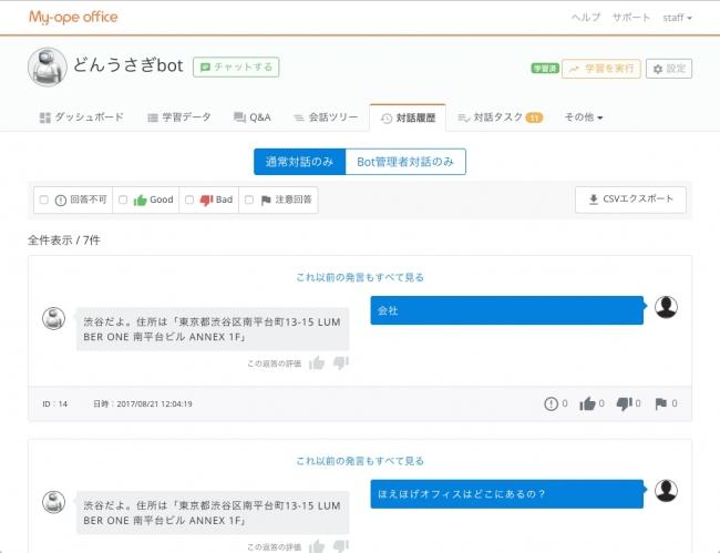 チャットユーザーやボット管理者の対話履歴が閲覧できる画面です。