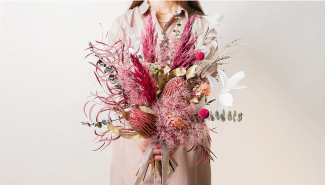 ドライフラワー花束・ピンクL