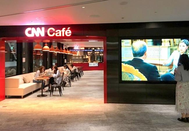CNNニュースが常時流れるCNN Café
