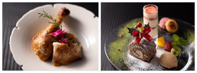 ロティサリーチキン(写真左)とデザート盛り合わせ(写真右)(いずれも「GRILL DINING 薪火 クリスマコース 」より)