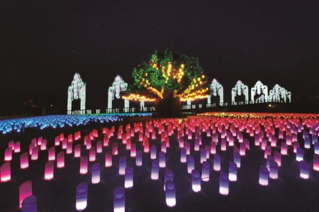 シンボルツリーとランタンイルミネーション「光の草原」