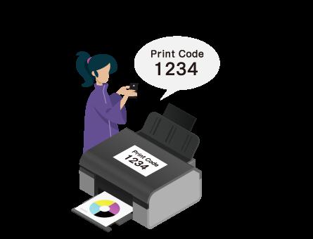 ファイルを選択し プリンター本体の プリントコードを入力 してプリント